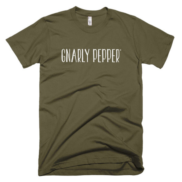 gnarly pepper, gnarly, pepper, t-shirt, tee, shirt, army green, grey, navy, veggie dip, onion dip, like mayo, entrepreneur, start up, food company, food business, food, business, company