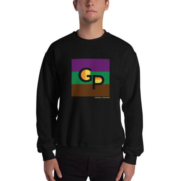 GP, Gnarly Pepper, sweatshirt, shirt, square, design, apparel, clothing, gnarlypepper, store, shop, comfy, in the middle, entrepreneur, start up, sara, new, black