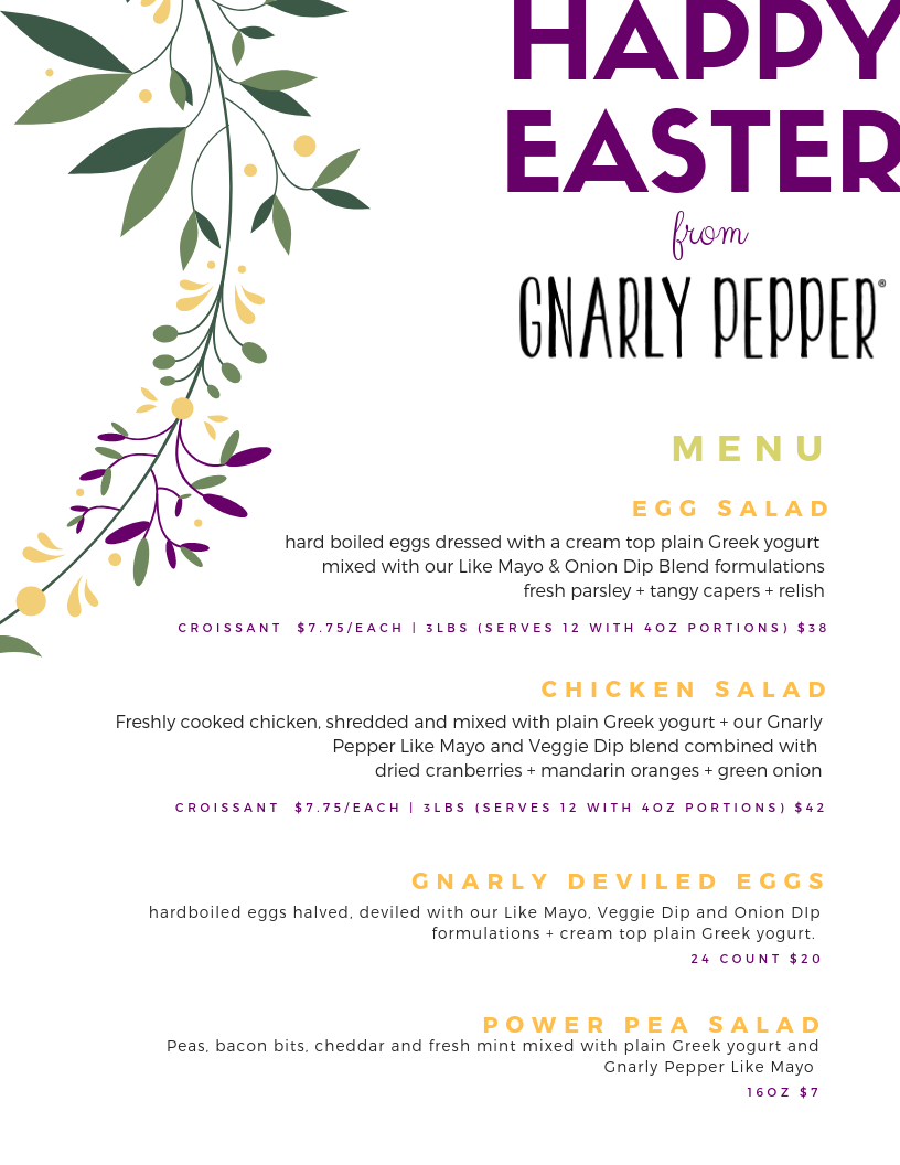 newbo, city market, cedar rapids, downtown, easter brunch, catering, food, egg salad, chicken salad, gnarly, deviled eggs, pea salad, fun salad, unique salad